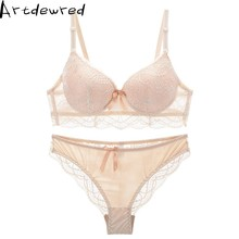 Europe New Fashion Design Sexy Cotton Lace Thin Bra Straps Panty Set Push Up Underwear Women