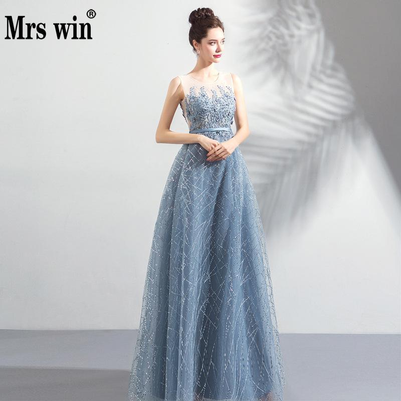 Evening Dresses New Mrs Win The Party Prom Vintage Robe De Soiree Luxury Lace Embroidery Vestido De Festa Noble Vestido Longo F