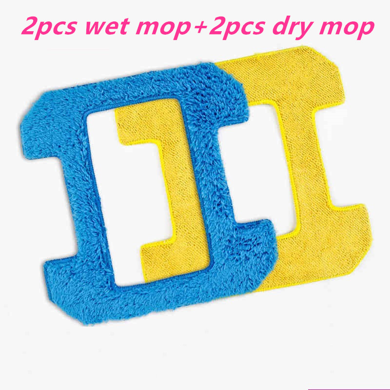 4pcs/lot 2pcs wet mop+2pcs dry mop for hobot 268 window clean mop cloth weeper glass windows microfiber cloth Cleaner Parts 2 pieces lot glass microfiber cloth for robot hobot 168 hobot 188 microfiber cleaning cloth bayetas microfibra