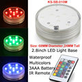 12pcs/Lot 3AAA Battery Operated Waterproof Submersible RGB Multicolors LED Light Base with Remote Controller