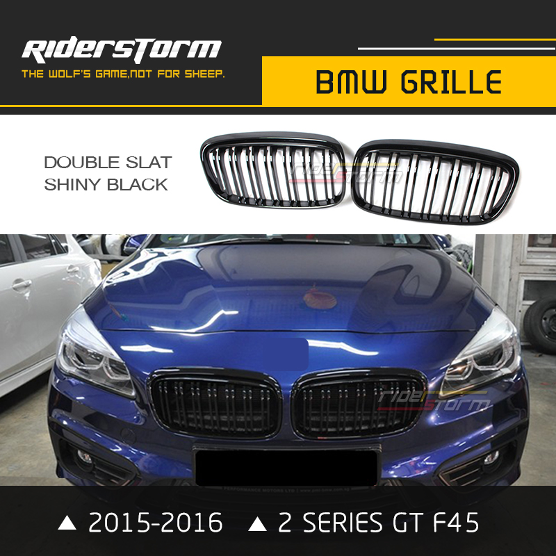 F45 F46 M2 Grill for BMW 2 Series GT Front Kidney Grille 220i 218i 225i Double Slat 2015 2016 Matt Glossy Black Tri Color