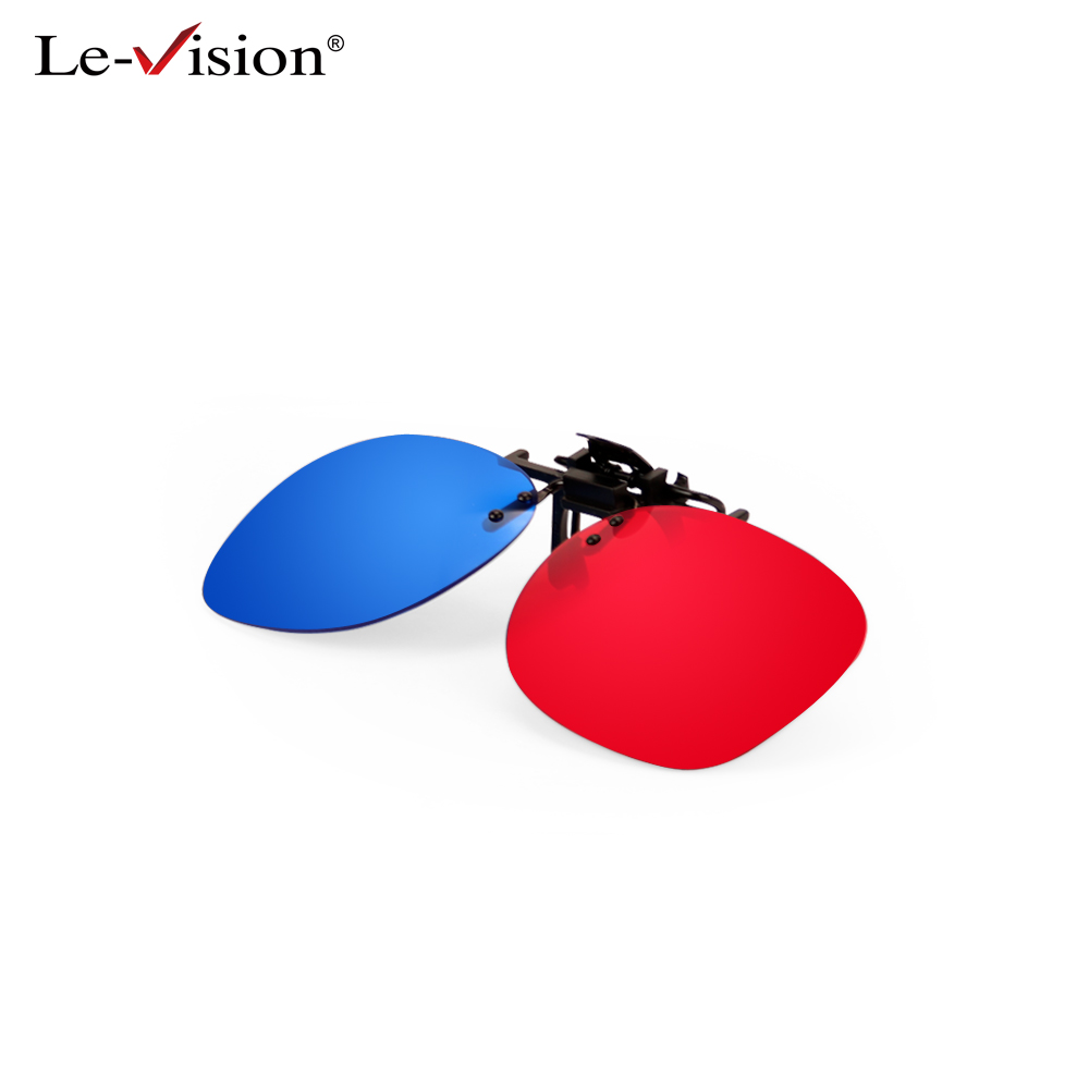 Le Vision 3D Clip On Glasses Red Blue Cyan Passive For Circular Polarized Glasses 3D Film