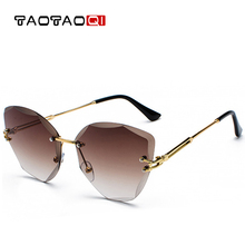 TAOTAOQI New Cat Eye Sunglasses Fashion Women Luxury Brand Designer Rimless Cateye Mirror Sun Glasses For Female UV400 Oculos