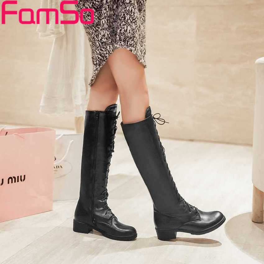 Plus Size34 43 2016 New Sexy font b Women b font Autumn Knee High Boots 3Colors