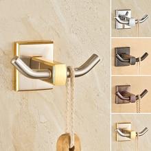European Zirconium Gold Solid Brass Brushed clothes Hook Antique Black Copper Towel/Coat Hook Mounting Bathroom Accessories F63