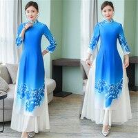 2019 Summer Graceful Aodai Vietnam Cheongsam Asian Clothes Folk Style Qipao Collar Folk Dress for Women Antique Long Classic