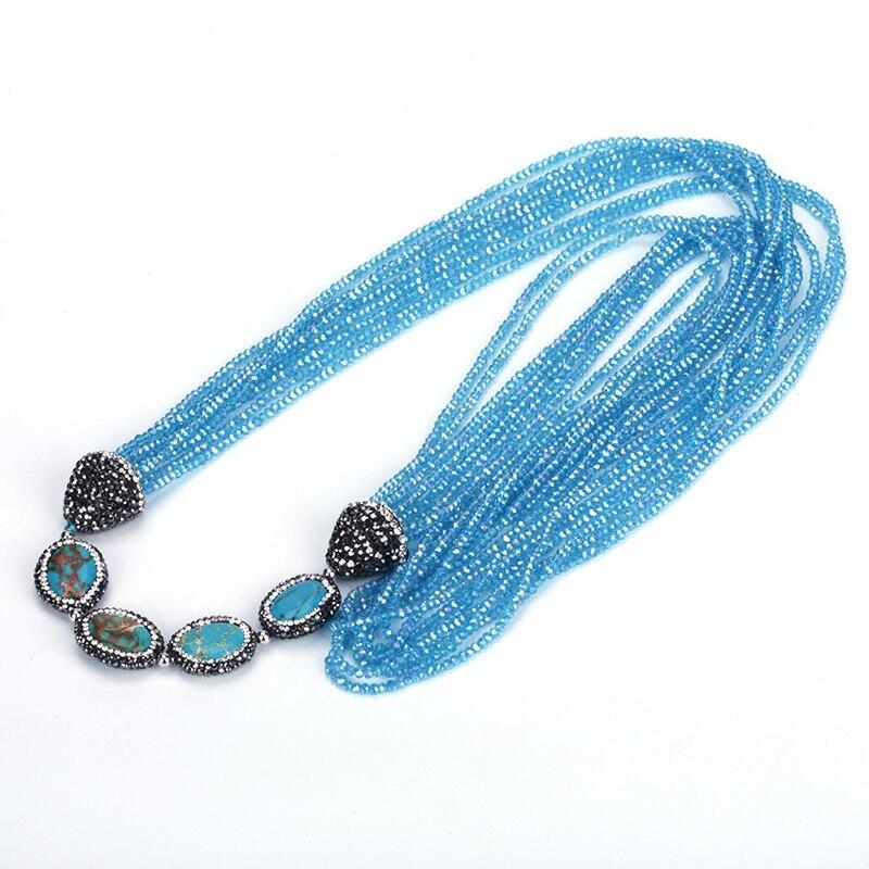 Nouveaux bijoux de mode femmes acrylique à la main colliers de perles blanc vert couleur longue gland chaîne colliers
