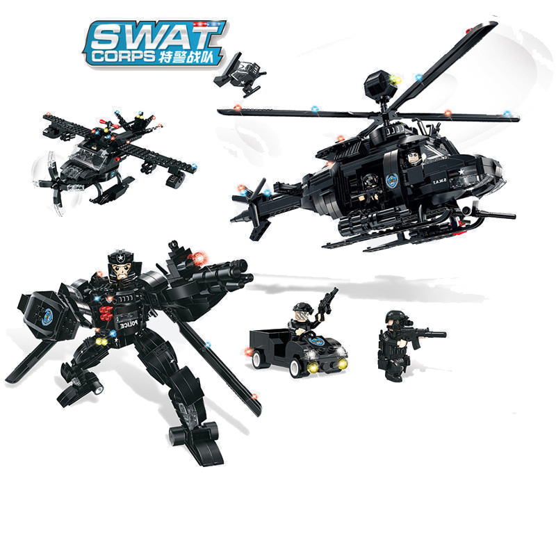 773pcs Children s building blocks toy Compatible city SWAT Series 3 in 1 Deformation Armed Reconnaissance