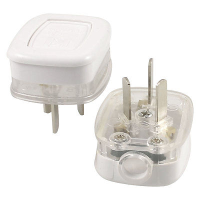 2 x Home Office Connector AU 3 Pin Plug Power Plug White Clear AC 250V 10A 5pcs ac 250v 16a 2 pin us au power plug connector replacement