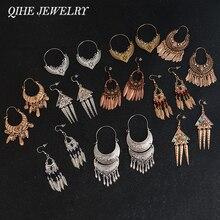 Joyería QIHE, pendientes de filigrana tibetana de Color dorado y plateado antiguo, joyería Bohemia, pendientes gitanos, pendientes de colección para mujer