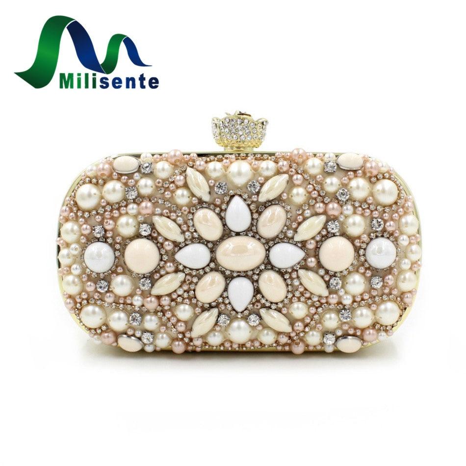ФОТО Fashion New Clutch Attractive Gift Rose Head Chain Bag Women Wedding Purse Diamonds Pearl Beading Mini