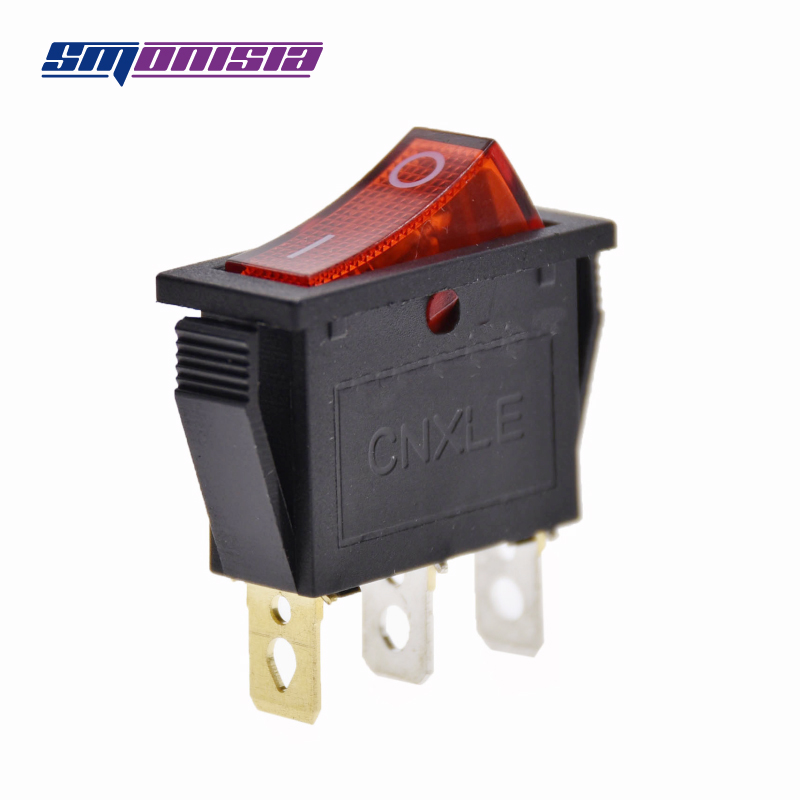100pcs Ship Switch with Red Light KCD3 15A/250V 3 Feet 2 Flies Copper