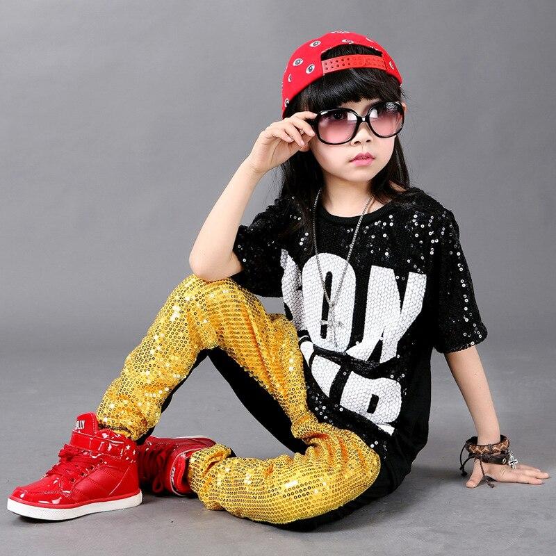 Children Hip Hop Clothing Spring Summer Camouflage Cool Sports Suits Fashion Kids 2pcs Set Boy Girls Sequins Hip Hop Clothing