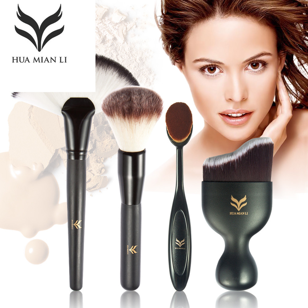 HUAMIANLI 4PCs Makeup Brush Set Tooth Brush S Shape Face Liquid Foundation Powder Brush Multifunction Cosmetic Makeup Tool