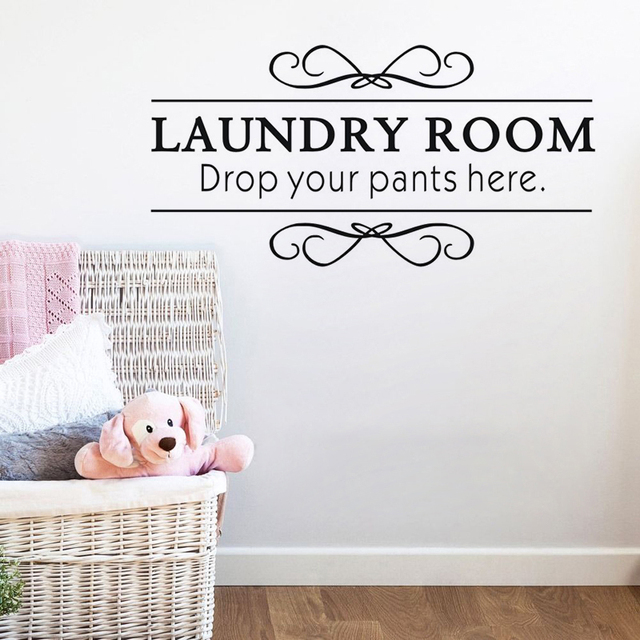 Dctop Laundry Room Drop Your Pants Here Vinyl Wall Sticker Decals Home  Decor Removable Wallpaper Sticker