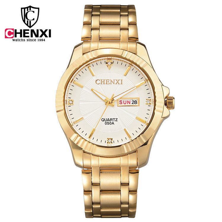 CHENXI 050A Brand Man Luxury Gold Dress Watches Stainless Steel Unique Golden Woman Men Business Quartz Wristwatch Waterproof