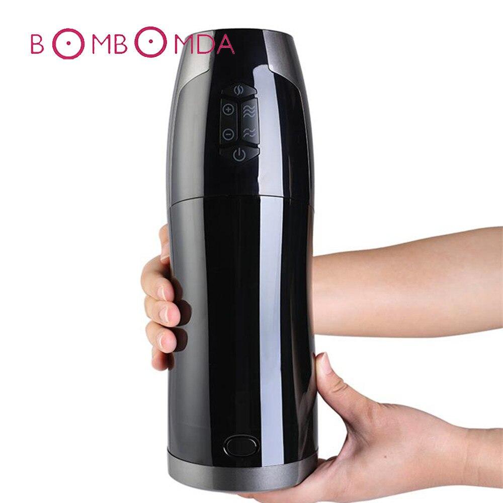 Electric Automatic Piston Masturbator Vibrator For Men Penis Massage Adult Sex Machine Heating Masturbation Cup Sex