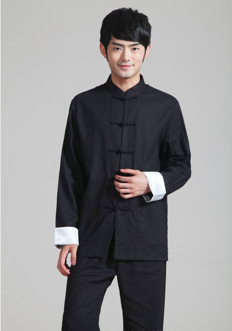 Shanghai Story Chinese Traditional Clothing  Chinese Style Mandarin Collar Kungfu Shirt Black Men's Cotton Linen Jacket For Man