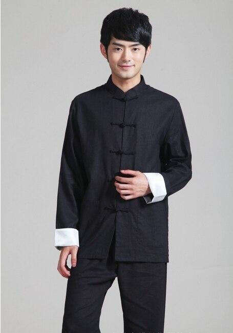 Shanghai Story Style chinois Mandarin col kungfu chemise noir chinois vêtements traditionnels hommes coton lin veste pour homme