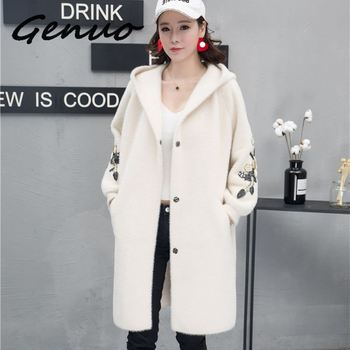 Women Long Outwear Faux Fur Autumn Winter Hooded Coat Embroidered Warm Single Breasted Thick Women Sweater Cardigan Jacket 2020 casual thick faux fur hooded long sleeve bodycon coat for women page 4