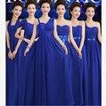 Azul real Vestidos de Dama Fuera Del Amor Del Hombro Plisado Barato vestido de Dama de Honor Bresses Bajo 50 vestido de Gala Vestido De festa