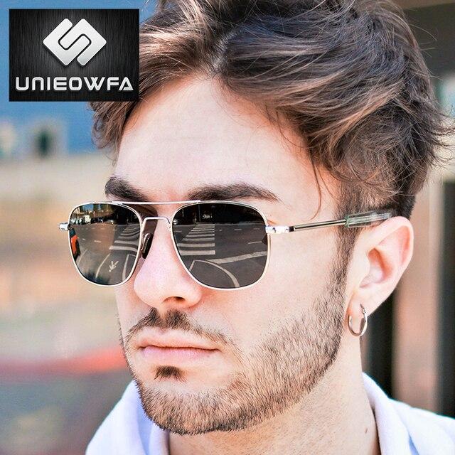 UNIEOWFA Männlichen Klassischen AO Sonnenbrille Männer Polarisierte Fahren UV400 Goggle Sonnenbrille Für Männer Polaroid Legierung Platz Pilot Sunglas