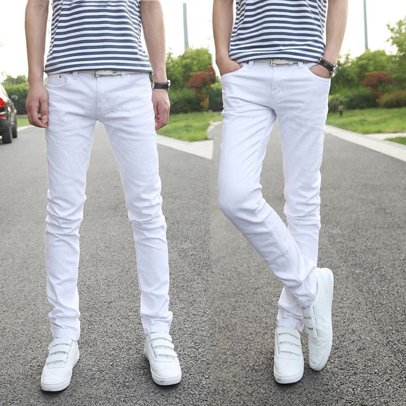BOBO 2020  Thin Man White Jeans Cultivate One's Morality Little Pencil Pants Tide Stretch Denim Trousers