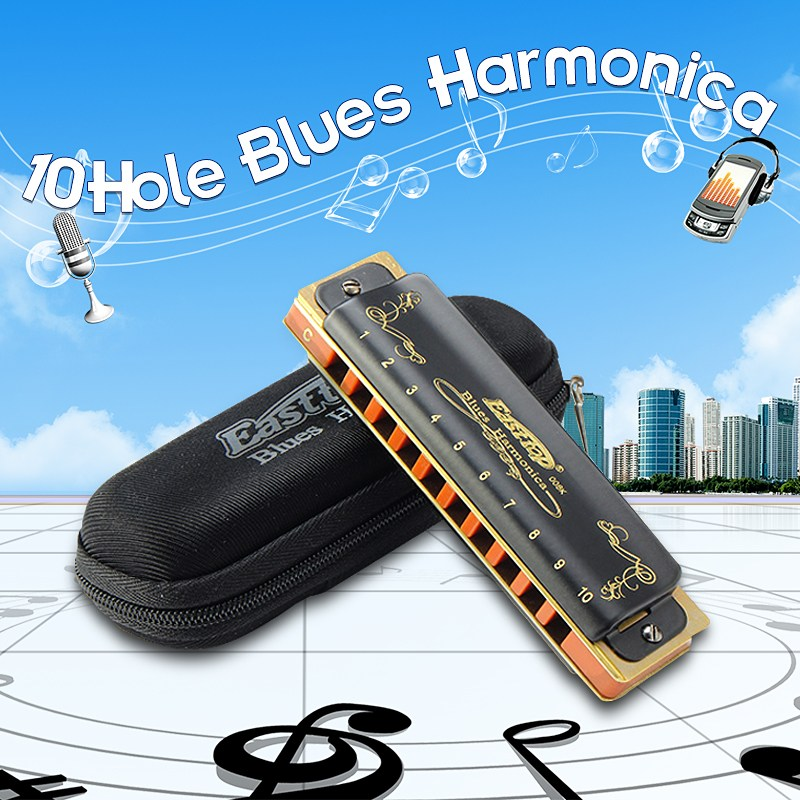 Easttop T008K Blues Harmonica A B C D E F G Keys 10 Hole Diatonic Harps Classic Black Musical Instrument Beginner Gift Harmonica suzuki c 20 olive 10 hole diatonic blues harmonica major key of c a d g e f plugb