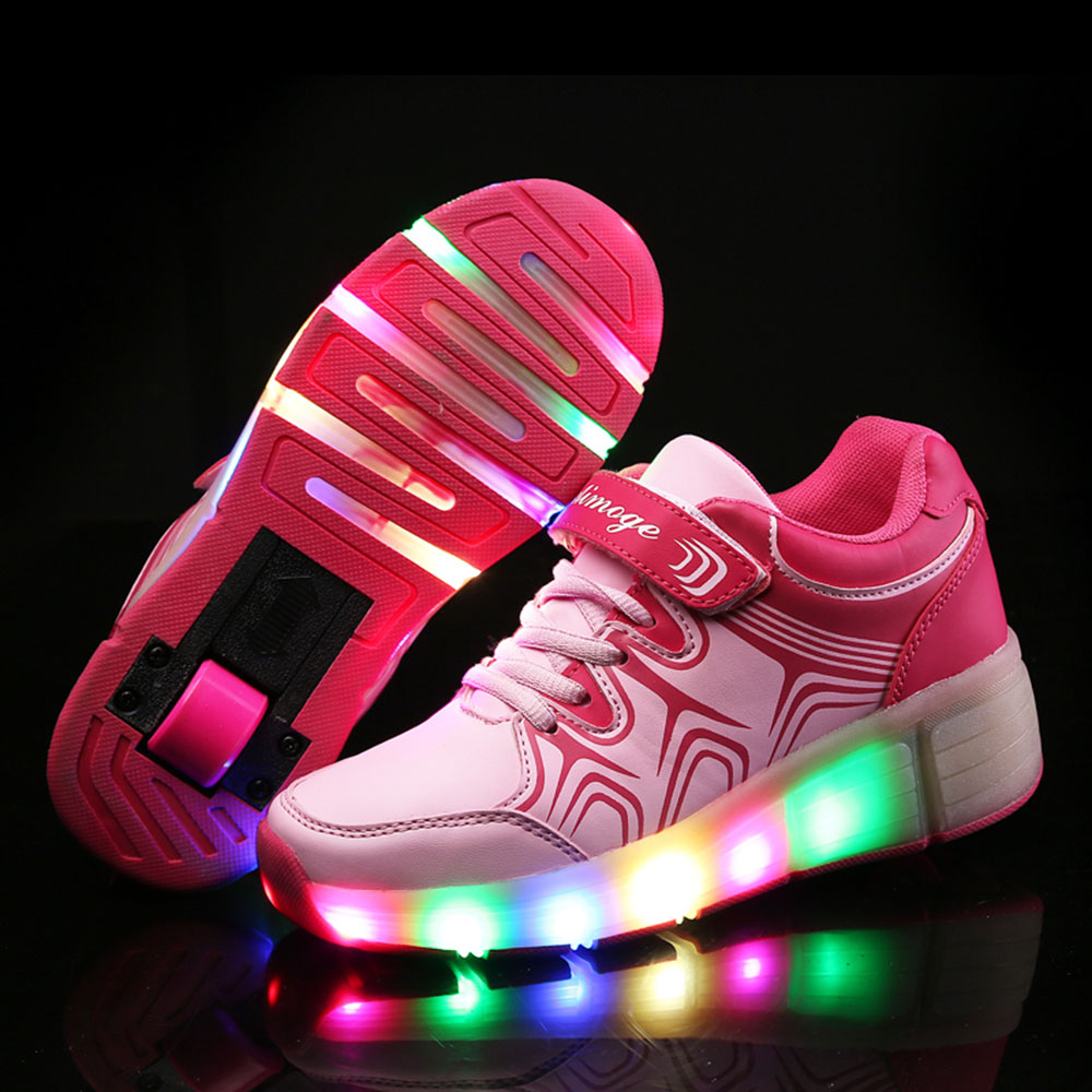 Kids Shoes with LED Light Kids Glowing Children Shoes with Wheels Kids Shoes for Boys Girls Pink tenis sneakers rollers skate