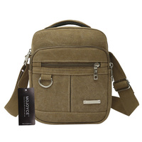 Fashion Canvas Men Zipper Shoulder Bag High Quality Crossbody Bag Black Khaki Brown Handbag Backpack
