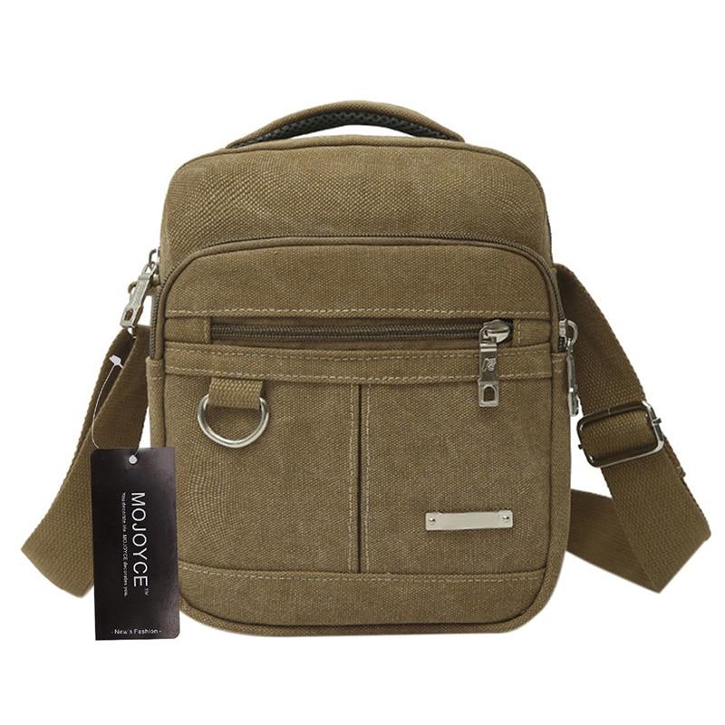 купить Fashion Bag Men Canvas Zipper Shoulder Bag High Quality Messenger Bags Black Khaki Brown Color Handbag Travel Bolso Hombre по цене 558.94 рублей
