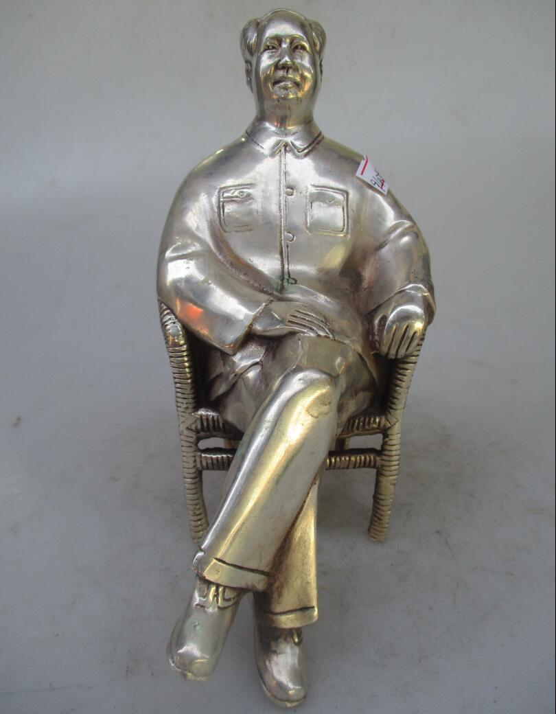 Antique antiques Collectible Decorated Chinese Old Handwork Tibet Silver Carved Mao Zedong Statue/sculptureAntique antiques Collectible Decorated Chinese Old Handwork Tibet Silver Carved Mao Zedong Statue/sculpture