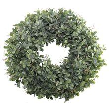 Corona de hojas verde Artificial Boutique práctica-17,5 pulgadas puerta delantera corona cáscara hierba boj corona para pared ventana Par