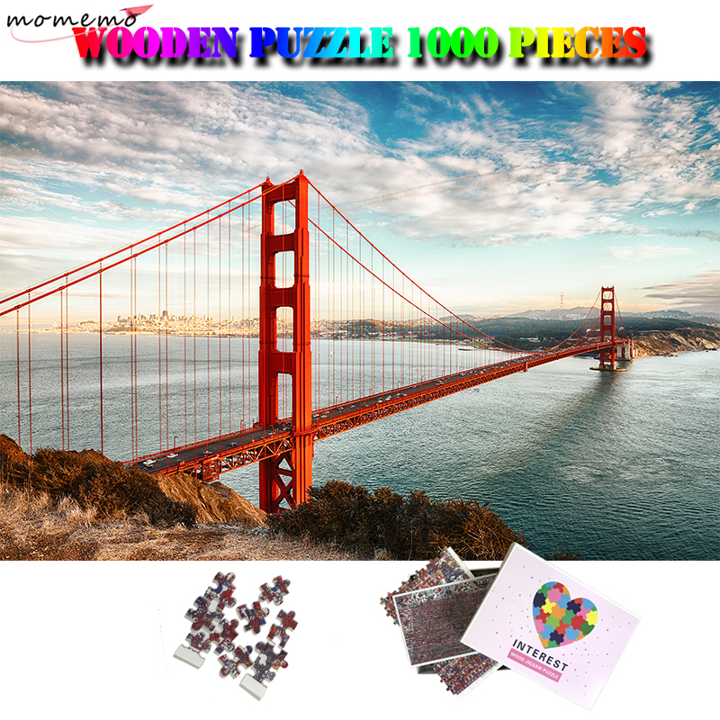 MOMEMO The Golden Gate Bridge Jigsaw Puzzle 1000 Pieces Wooden World Famous Landscape Puzzle Adult Brain Trainer Puzzle Kids Toy