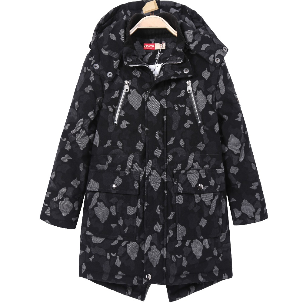Kids Children Winter Coat Trench Military Long Outerwear Thermal Zipper Overcoat Letter Patches Embroidered Windbreaker for Boys