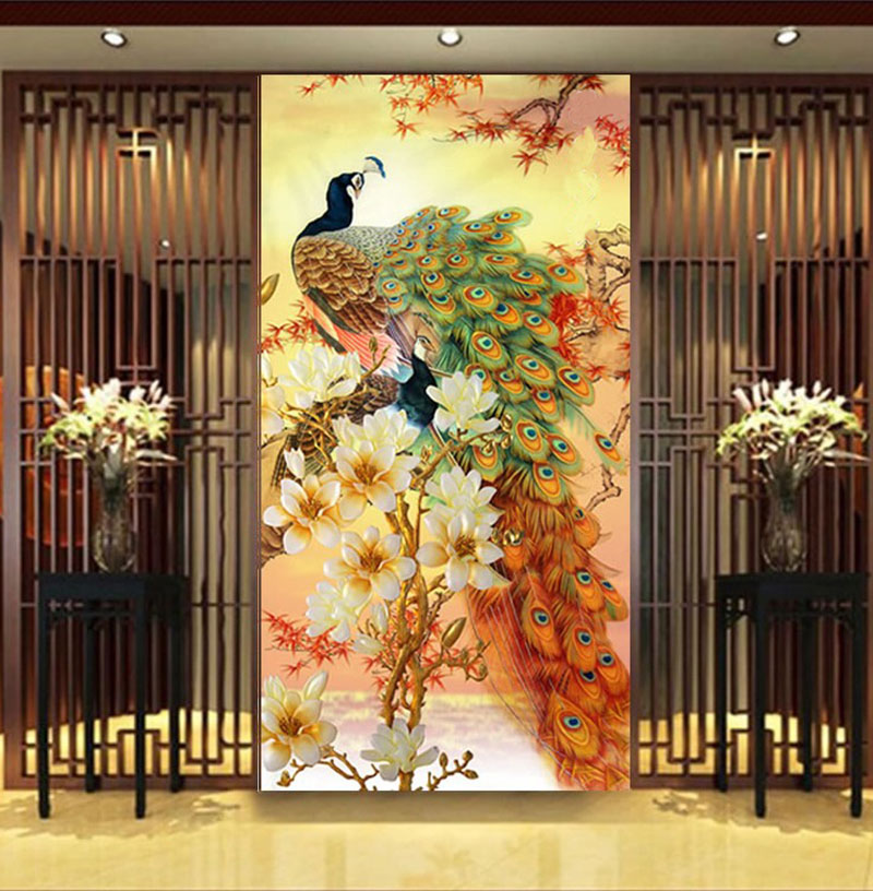 5d diy diamond painting peacock blooping rich cross stitch entranceway vertical version manglers rhinestone embroidery 35x70cm
