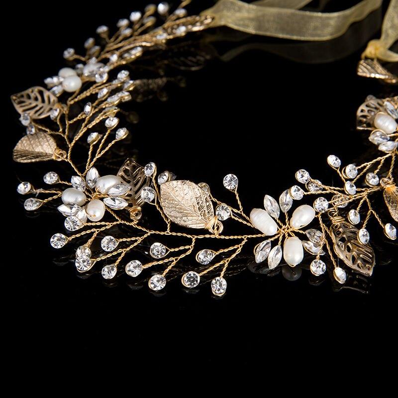 HairBand Leaf Crystal Beads Rhinestone (3)