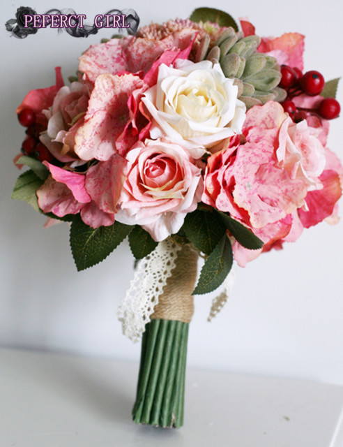 Pink collection Rose succulent  Hydrangea wedding flower bride bouquet bouquet de mariee bruidsboeket