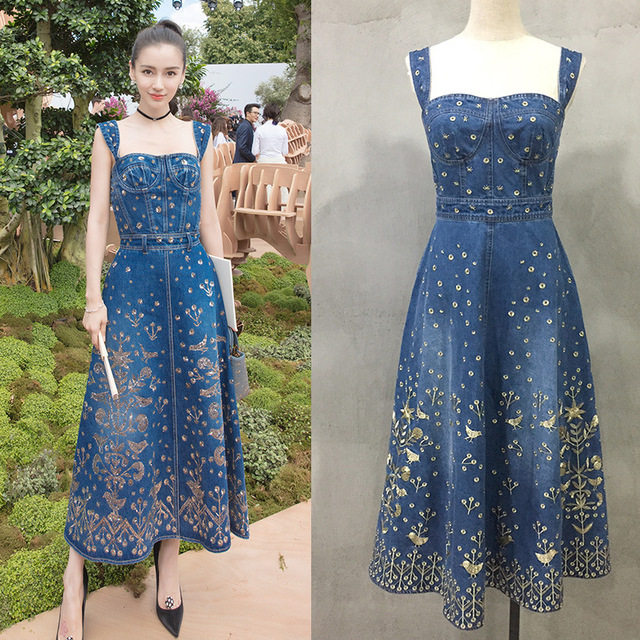a2c3de3a776 Summer Blue Long Denim Dress Women 2019 Runway Sexy strapless Floral Gold  Embroidery Party Jeans Maxi Sundress Maxi Vestidos