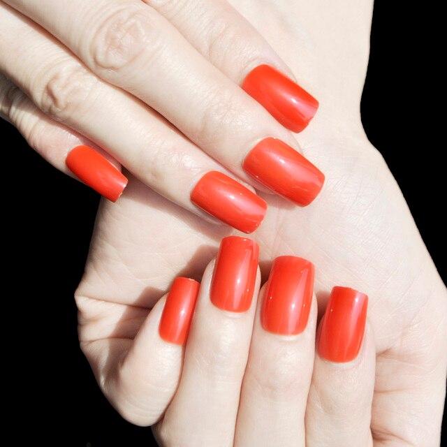 Fashion Flat False Nails Orange Red Square Nail Tips Long Size Nail ...