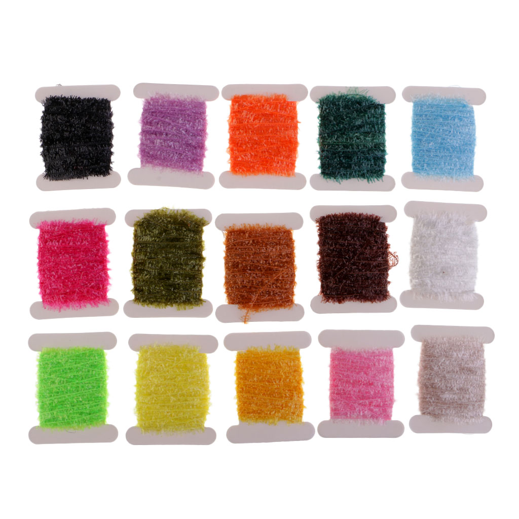 3 Cards//Set 6 Colors Fly Fishing Tinsel Chenille Crystal Flash Line Material