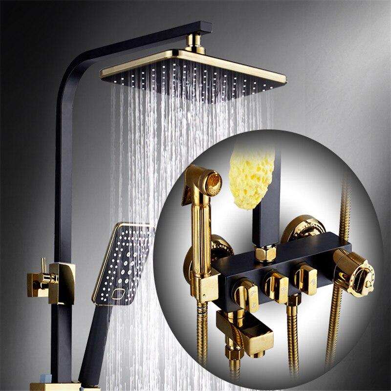 Robinet de douche de salle de bain robinet thermostatique mélangeur de douche avec Bidet douche bain et douche mélangeur ensemble noir robinet de baignoire ensembles