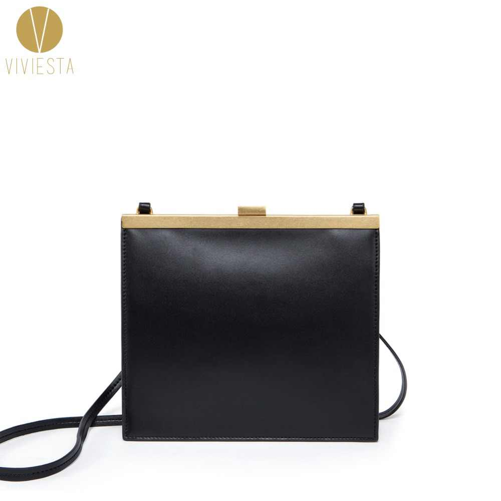 REAL LEATHER VINTAGE CLASP FRAME BAG - Women s Kiss Lock Retro Minimalist  Simple Famous Luxury Mini 2624723a77291