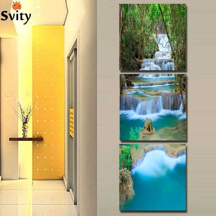3 Panel  Waterfull Tree Painting Picture Landscape Painting Canvas Art  For Living Room No Frame Giveaways wall sticker