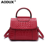 AODUX 2018 Fashion Small 100% Genuine Leather Handbag Embossed Crocodile Alligator Pattern Cowhide Women Ladies Handel Sack Bag