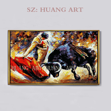 Free Shipping High Quality Cheap Price Handmade Spanish Matador Oil Painting Hand-painted Bullfight