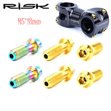 цена на RISK 6pcs Titanium Bolt M5*18mm for Mountain Road Bike Handlebar Stem Bolts Bicycle Fixed Screws Bike Parts