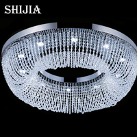 new luxury round ceiling chandelier crystal LED chandelier light modern lighting with remote control for shop/hotel /home