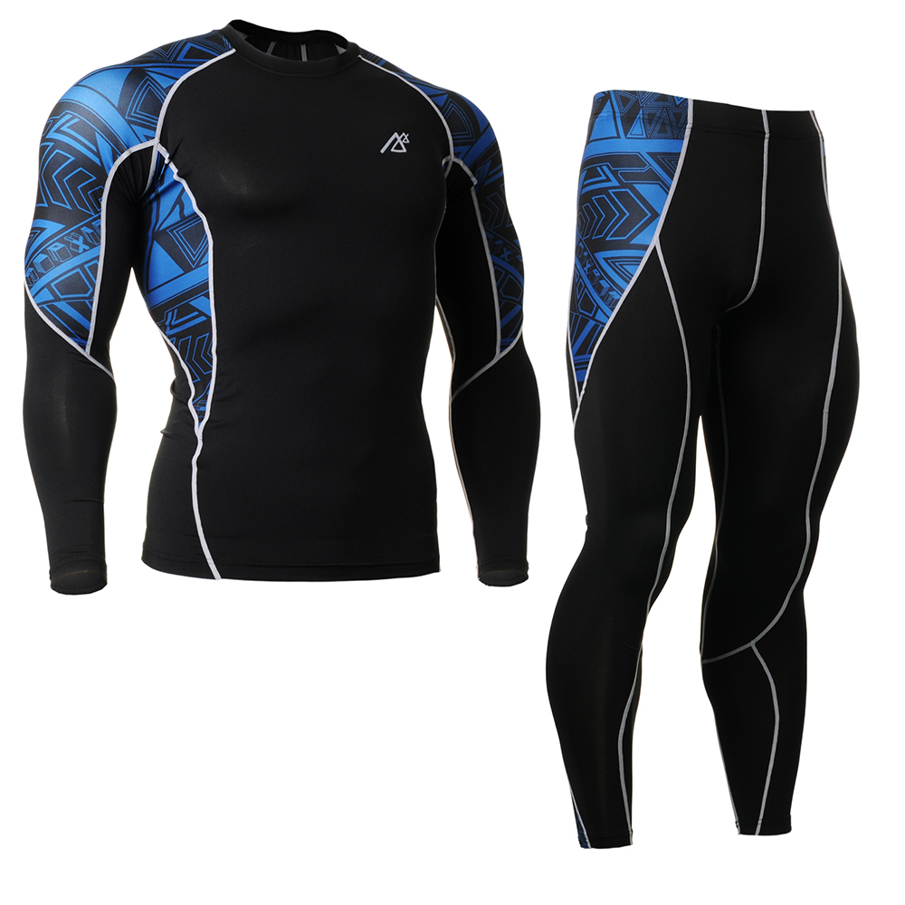 ФОТО Fitness running shirt +Pants sets Breathable Summer style running t shirt men Long Sleeve CompressionTraining Bodybuilding S-4XL