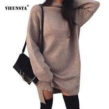 VIEUNSTA Autumn Turtleneck Warm Sweater Dresses Women Winter Long Sleeve Loose Knitted Dress Casual Solid Dress Vestidos 2XL цены